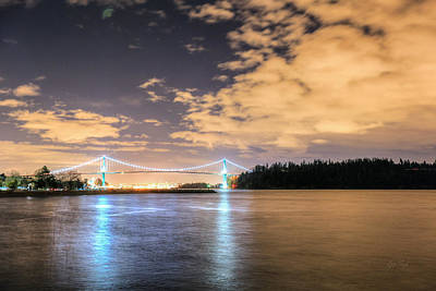 Lion's Gate Bridge Vancouver At Night Poster by Eti Reid