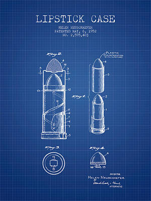 Lipstick Case Patent From 1952 - Blueprint Poster by Aged Pixel