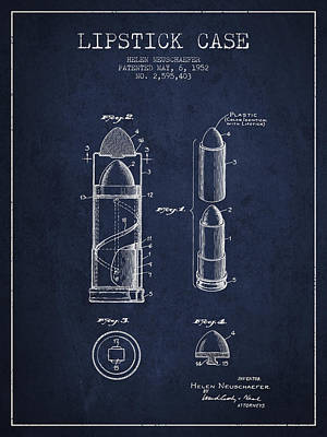 Lipstick Case Patent From 1952 - Navy Blue Poster by Aged Pixel