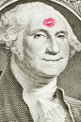 Lipstick Kiss On One Dollar Bill Poster