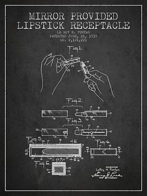 Lipstick Mirror Patent From 1938 - Charcoal Poster by Aged Pixel