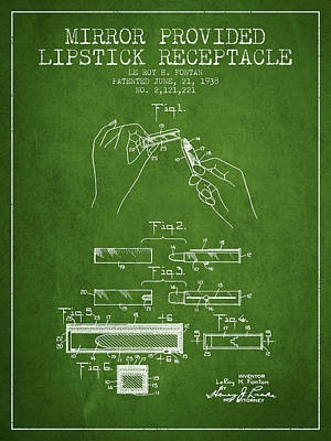 Lipstick Mirror Patent From 1938 - Green Poster by Aged Pixel