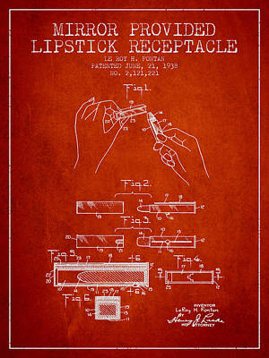 Lipstick Mirror Patent From 1938 - Red Poster by Aged Pixel