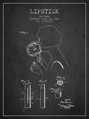 Lipstick Patent From 1926 - Charcoal Poster by Aged Pixel