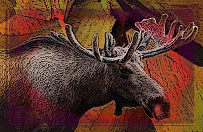 Liquid Color Moose Poster