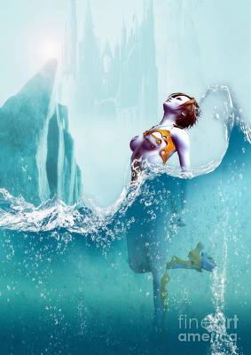 Poster featuring the digital art Liquid Fantasy by Sandra Bauser Digital Art