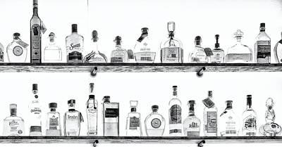 Liquor Bottles - Black And White Poster