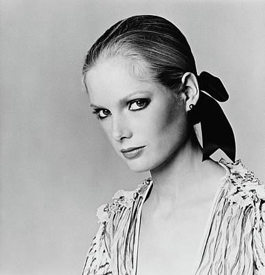 Lisa Cooper Wearing Black Pearl Earrings Poster