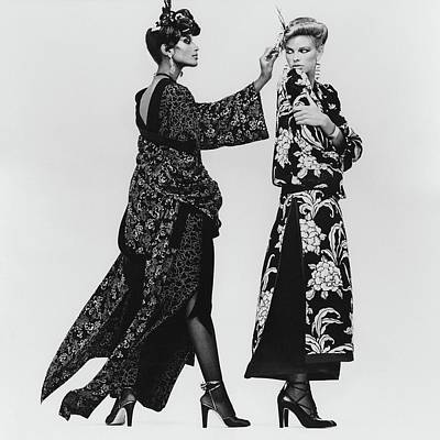 Lisa Taylor Wearing A Print Crepe De Chine Robe Poster by Albert Watson