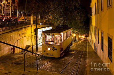 Lisbon Gloria Funicular Night Shot Poster by Kiril Stanchev