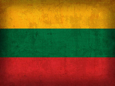 Lithuania Flag Vintage Distressed Finish Poster by Design Turnpike