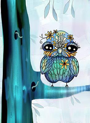 Little Blue Bird Poster by Karin Taylor