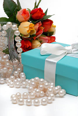 Little Blue Gift Box With Pearls And Flowers Poster