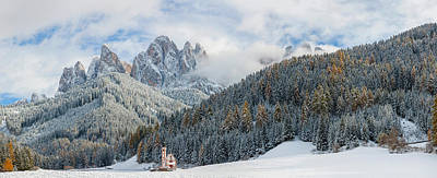 Little Church At The Snowy Valley Poster by Panoramic Images