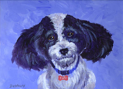 Little Dog Blue Poster by Richard De Wolfe