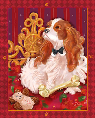 Little Dogs - Cavalier King Charles Spaniel Poster by Shari Warren