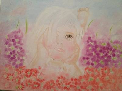 Poster featuring the painting Little Dreamer by Brindha Naveen