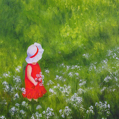 Poster featuring the painting Girl In Meadow by Roseann Gilmore