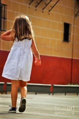 Little Girl In White Dress Poster