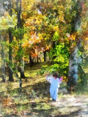 Little Girl Walking In Autumn Woods Poster