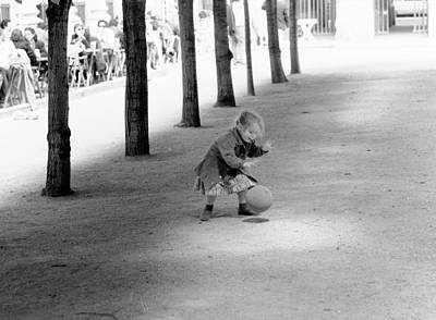 Little Girl With Ball Paris Poster by Dave Beckerman