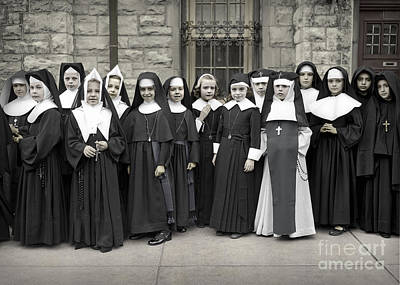 Young Girls Modeling Nun Habits Poster