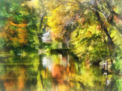 Little House By The Stream In Autumn Poster
