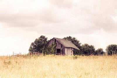 Poster featuring the photograph Little Old Barn In A Field - Landscape  by Gary Heller