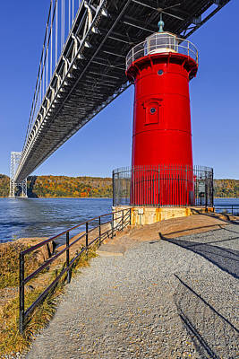 Little Red Lighthouse Under Graat Grey Bridge Poster by Susan Candelario