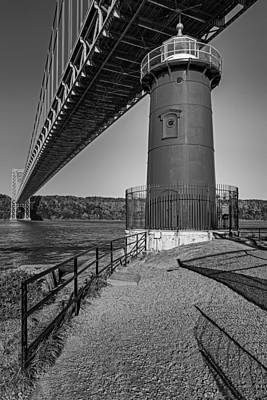 Little Red Ligthouse Under Great Grey Bridge Bw Poster
