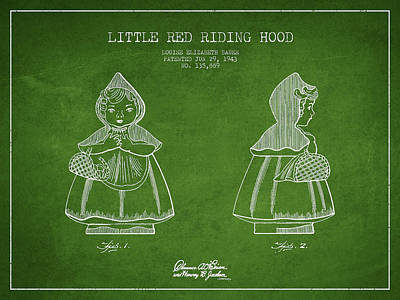 Little Red Riding Hood Patent Drawing From 1943 - Green Poster by Aged Pixel