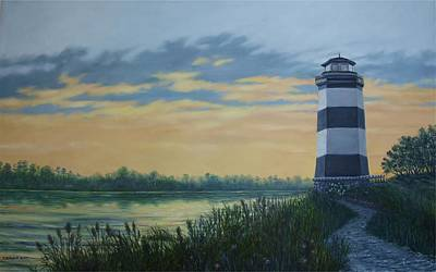 Poster featuring the painting Little River Light One by Kathleen McDermott
