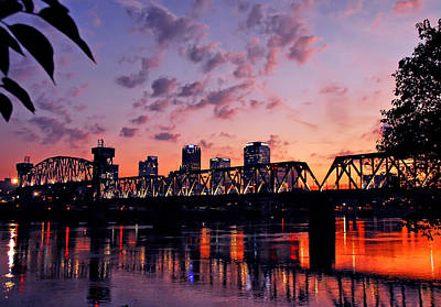 Poster featuring the photograph Little Rock Bridge Sunset by Mitchell R Grosky