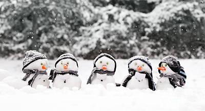 Little Snowmen In A Group Poster