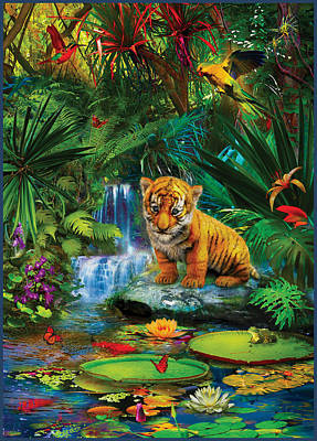 Poster featuring the drawing Little Tiger by Jan Patrik Krasny