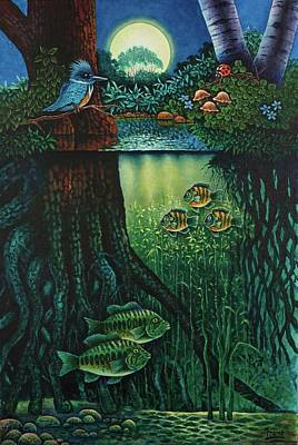 Poster featuring the painting Little World Chapter Kingfisher by Michael Frank