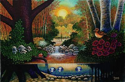 Poster featuring the painting Little World Chapter Sunset by Michael Frank