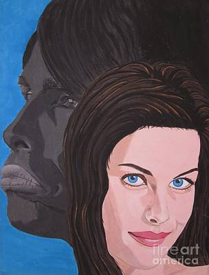 Poster featuring the painting Liv Tyler With Silhouet Steven Tyler by Jeepee Aero
