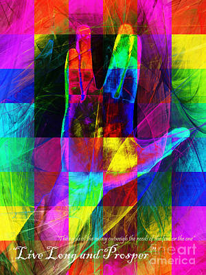 Live Long And Prosper Spock 20150302v3 Color Squares With Text Poster by Wingsdomain Art and Photography