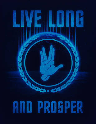 Live Long And Prosper Spock's Hand Leonard Nimoy Geek Tribut Poster by Philipp Rietz