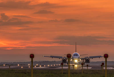 Liverpool Airport At Sunset Poster by Paul Madden