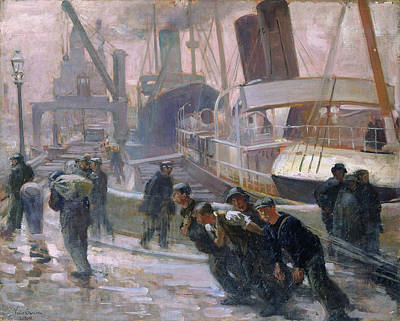 Liverpool Dockers At Dawn, 1903 Oil On Canvas Poster