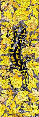 Poster featuring the painting Lizard In Yellow Nature - Elena Yakubovich by Elena Yakubovich