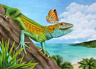 Lizard Landing Poster by Carolyn Steele