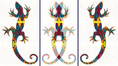 Lizard Love An Abstract Reptilian Adventure Poster