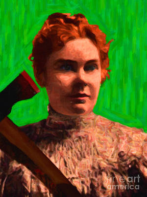 Lizzie Bordon Took An Ax - Painterly - Green Poster by Wingsdomain Art and Photography
