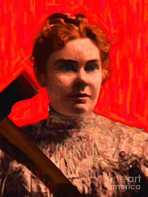 Lizzie Bordon Took An Ax - Painterly - Red Poster by Wingsdomain Art and Photography