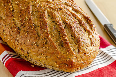Loaf Of Whole Grains And Seeded Bread Poster by Teri Virbickis