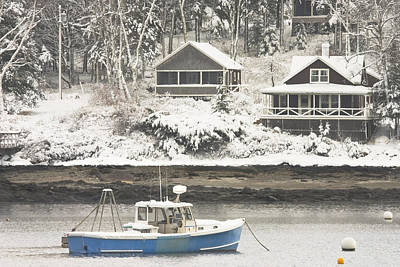 Lobster Boat After Snowstorm In Tenants Harbor Maine Poster