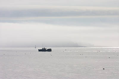 Lobster Boat - Fog - Cranberry Island - Maine Poster